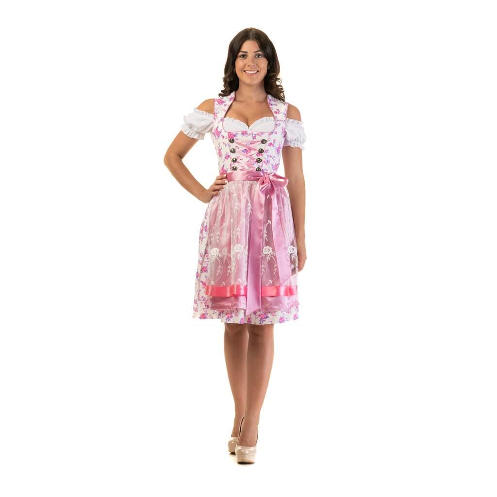 Oktoberfest Trachtenbluse mit Kragen Seidenschürze Dirndl Trachtenkleid 3tlg